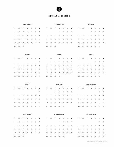 Free Printable, 2017 Yearly Calendar u2013 Emily Ley u2026 calendars - yearly calendar