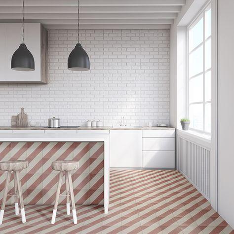 Cross Stripe Pink Handmade Encaustic Cement Floor Tile