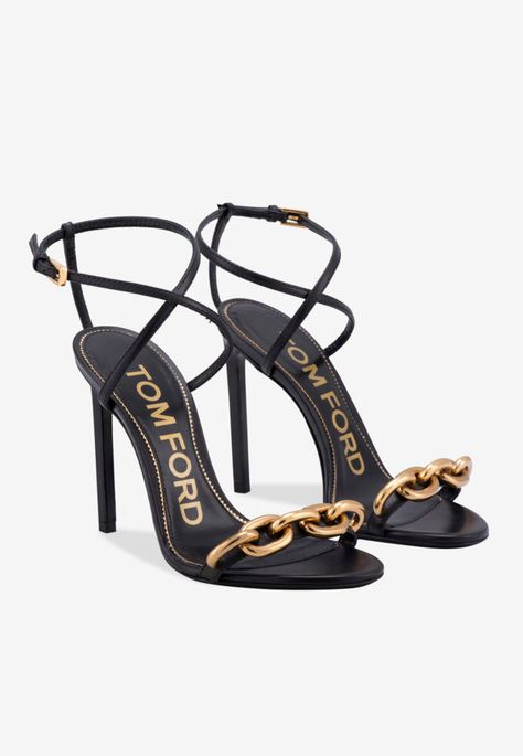 Tom Ford Black Leather Sandals With Chain Trim Black Leather Sandals, Leather Pumps, Tom Ford Heels, Tom Ford Boots, Stiletto Heels, High Heels, Fashionable Snow Boots, Strap Heels, Ankle Strap