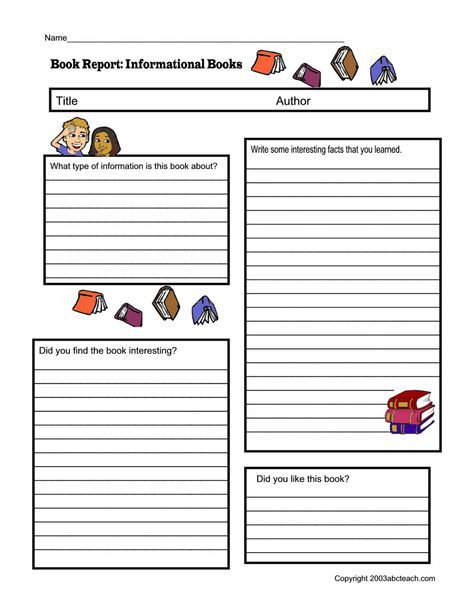 Non Fiction Book Report Form Pdf With Images Book Report