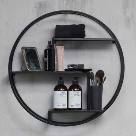 Woood Peet Black Metal Circular Wall Shelf Acc For The Home