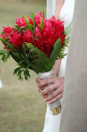 Red Ginger Lily Hand Tied Bouquet Beach Wedding Flowers Tropical Wedding Flowers Wedding Boquet