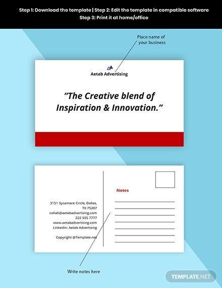 Sample Advertising Agency Postcard Template Free Pdf Word Psd Illustrator Postcard Template Free Postcard Template Advertising Agency