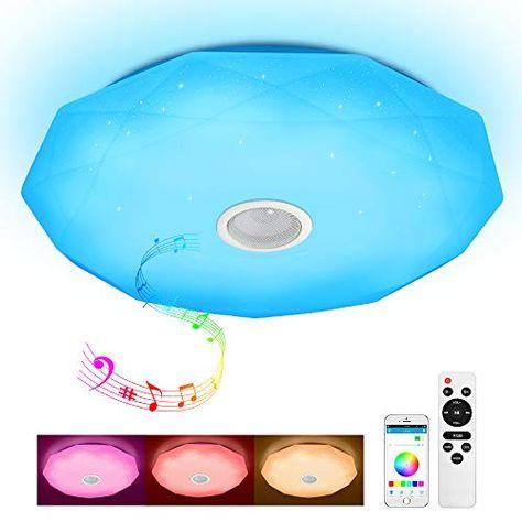 Dimmbar bluetooth Lautsprecher 60W RGB LED Deckenleuchte Lampe APP