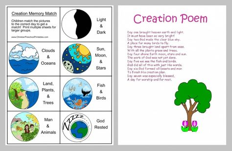While putting together a preschool Bible lesson on creation, we came across some awesome elements that worked fantastic when used together - the creation poem from DLTK Bible and creation cards.