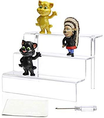 Amazon Com Niubee Acrylic Riser Stand Shelf For Amiibo Funko Pop Figure Display 3 Steps Acrylic Display For Decoration And Organizer Small 3 Funko Pop Display