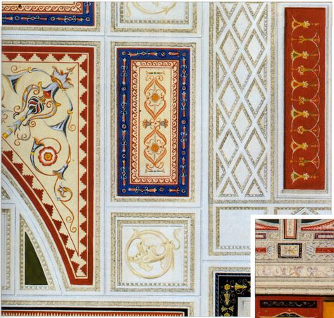 Reconstructed fresco from the ceiling of the Domus Augustana, Rome | Antike architektur, Antike ...