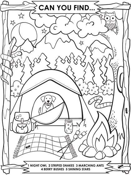 Camping Search And Find Coloring Page Crayola Com Camping Coloring Pages Summer Coloring Pages Free Coloring Pages