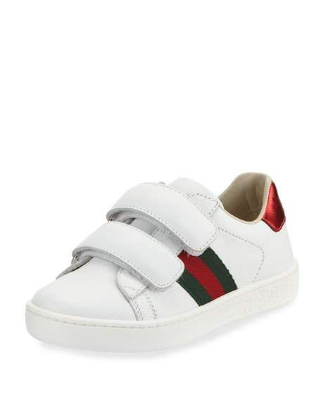 Gucci New Ace Web-Trim Leather Sneaker