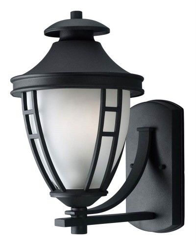 Textured Black Progress Lighting P5775-31 1-Light Wall Lantern with Etched Glass