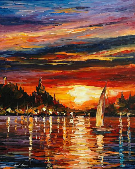 Leonid Afremov    Castle by the Sea