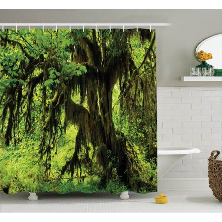 Rainforest Decorations Shower Curtain Set Tree With Moss In The Jungle Natural Life Z Bathroom Decor Sets Green Shower Curtains Tree Shower Curtains