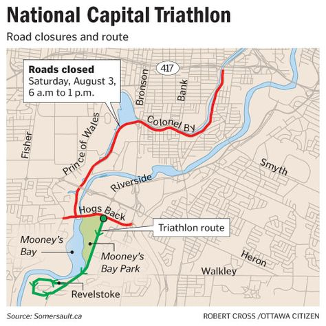 Map shows route of National Capital Triathlon