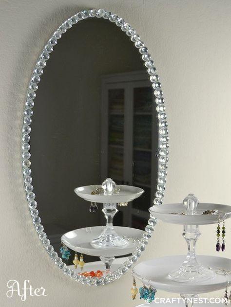 DiY~Glass bead mirror. Simple upgrade.