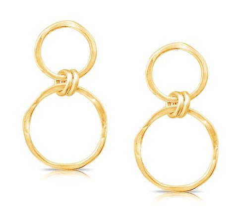 Double Link Drop Earrings in 14k Gold #goldearrings #dangleearrings