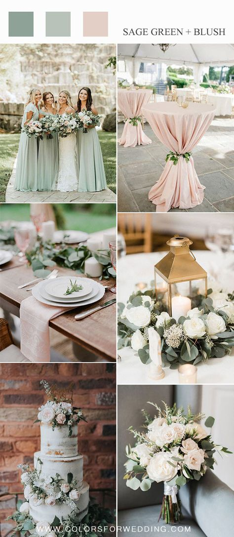 sage and blush pink wedding color ideas for spring summer - sage green bridesmaid dresses, blush pink cocktail table for wedding, greenery wedding centerpiece with gold lantern, sage green and blush wedding cake and bouquets #weddings #spring #pinkwedding