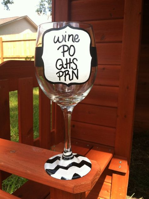 Medical Jargon Wine Glass Nurse Wine Glass by JustABrushAndPaint