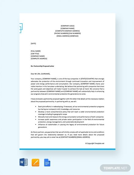 Free Formal Proposal Letter For Partnership With Images