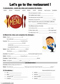 Let S Go To The Restaurant Language English Grade Level Beginner Schoo English As A Second Language School Supplies For Teachers Reading Comprehension Skills