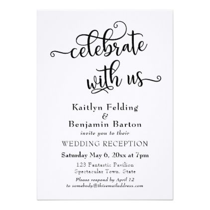 Celebrate With Us Typography Wedding Reception 2 Invitation
