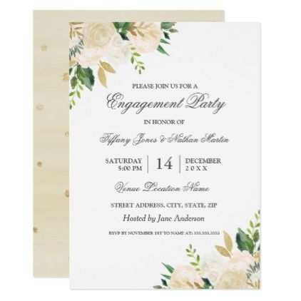 Elegant Gold Floral Watercolor Engagement Party Invitation