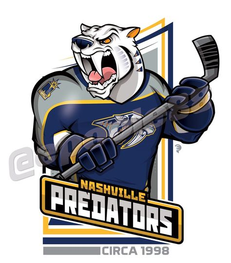 Retro late-1990s Nashville Predators, courtesy of that great cartoonist #EPoole88.