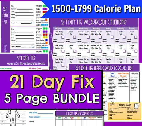 21 day portion control 1500 1799 calorie diet plan 5 page pdf bundle meal
