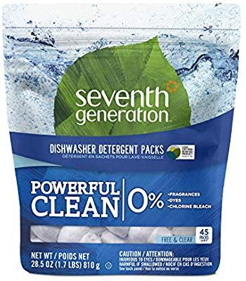 Amazon Com Seventh Generation Fragrance Free Dishwasher Detergent Packs 45 Count H Dishwasher Detergent Natural Dishwasher Detergent Toxic Cleaning Products