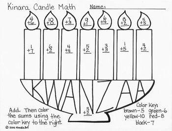 Kwanzaa Kinara Candle Math Kwanzaa Kindergarten Fun Holidays