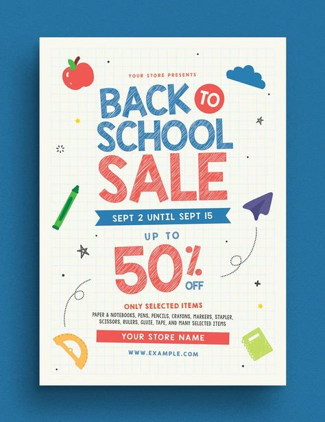 Back To School Sale Event Flyer Template AI, PSD