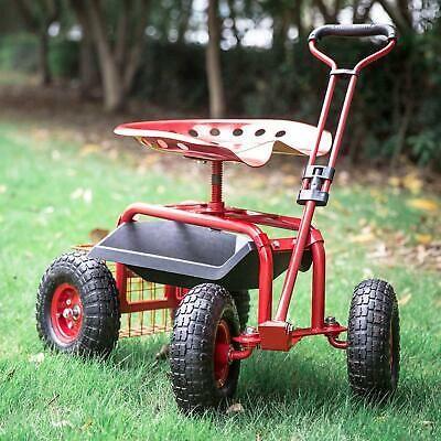 Red Outdoor Garden Swivel Seat Rolling Weeding Chair Wheels Planting Yard Lawn Ebay Swivel Seating Planting Tools Outdoor Garden