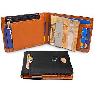 Black Leather Slim Wallet Pocket Silver Money Clip ID Credit Card Case Holder UK