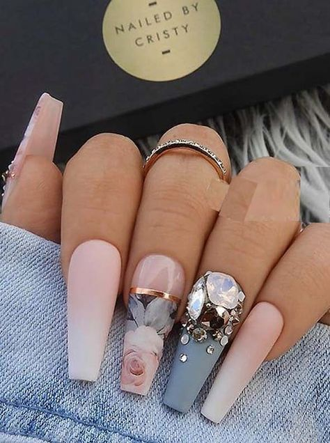 Still can't find the perfect nail designs to wear in these days? If you are still searching for best nail arts then matte french ombre, blue grey and crystal on long coffin nail design is best option of beauty for you.