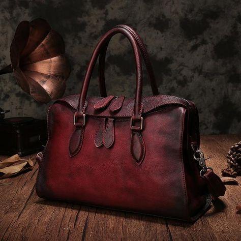 Vintage Leather Purse Red Boston Handbags Purse Shoulder Crossbody Bags