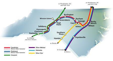 Amtrak Nc Map.Nc Passenger Train Route Map Triangle Tourist Train Route Train