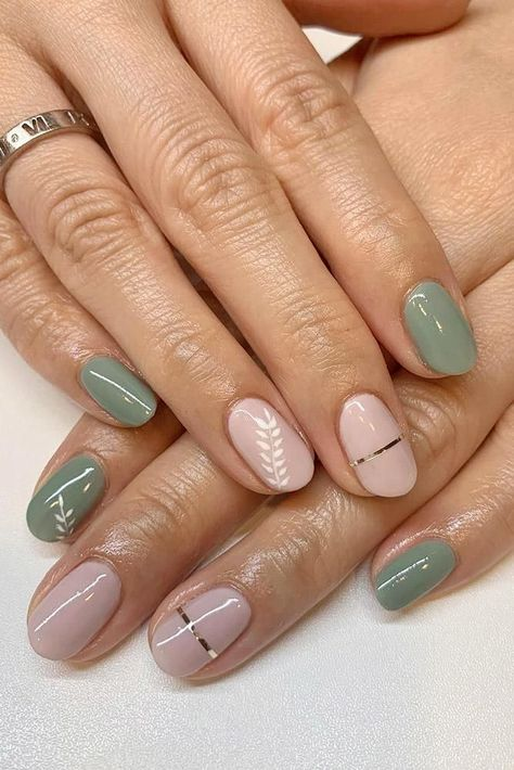 30 Wow Wedding Nail Ideas ❤️ nail ideas wedding nude and trendy green nails with silver stripes and botanical paintings joymanicure #weddingforward #wedding #bride #weddingnails #nailideas