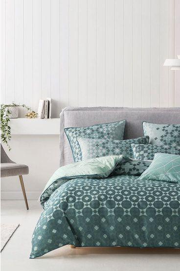Linen House Zellige Quilt Cove Teal Qb Quilt Cover Sets Quilt