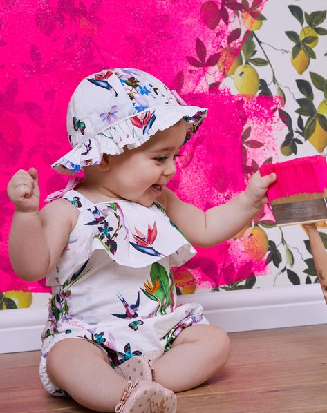 bf6d93f6bd8ce5 PLAYDATE IN THE PARK  Ted s floral MATELDA romper and matching hat ...