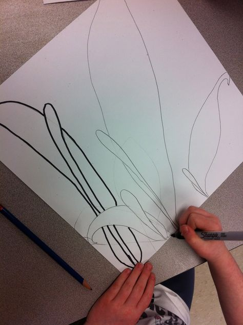 O'Keefe - Tips for Kids to Draw BIG Tell them the flower feel off right off the paper! This was such a cute suggestion! Students MUST touch all 4 sides of the paper with their object Give several examples and non examples of what is the right size and what isn't Give students many different examples of TYPES of flowers to ensure variety Review the word OVERLAPPING and talk about how petals overlap