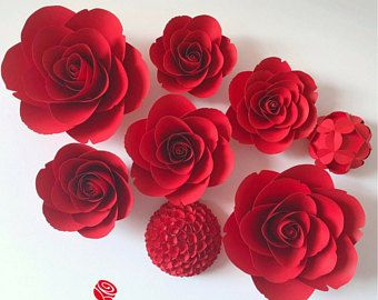 Valentines Day Decor Large Paper Flowers Giant Red Roses