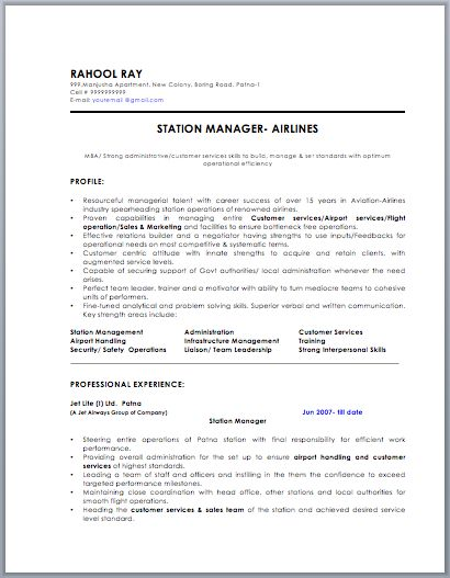 Airlines Station Manager Resume Resume \/ Job Pinterest - resume manager