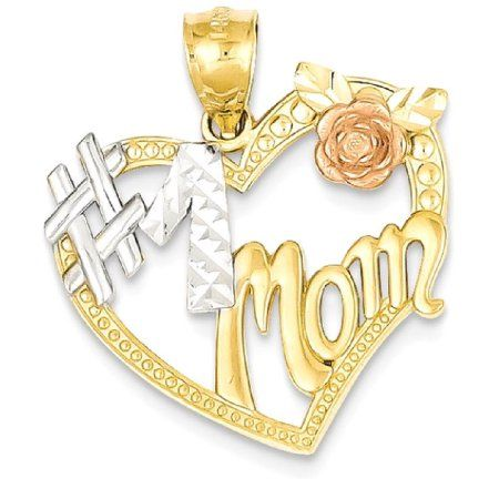 14kt Gold Womens Two-tone Mom Pendant Charm
