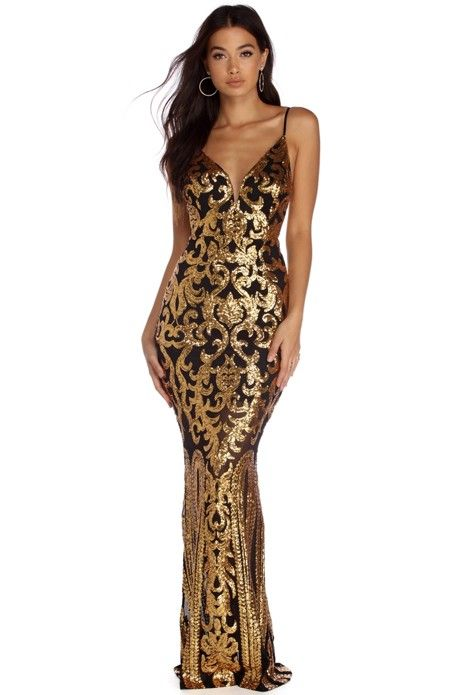 Elegant Gold Evening Dress Sleeveless  Mermaid Dress Sleeveless  Victorian black Dress  Floral Gown Mermaid  Trumpet Mermaid silhouette