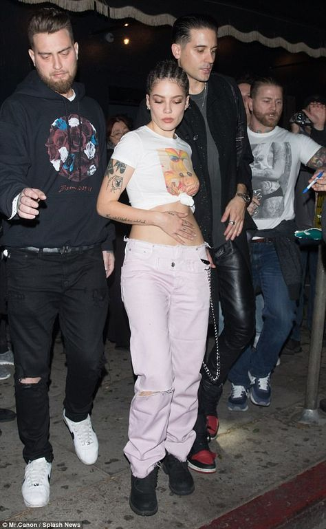 Halsey, the punk princess, and her rapper boyfriend G-Eazy looked as broody as ever in Los Angeles on Wednesday night. The two shared an intimate date at Warwick's rustic cocktail lounge in Hollywood.