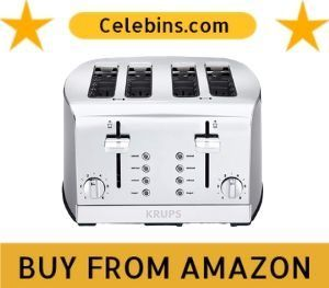 KRUPS KH734D Breakfast Set 4-Slot Toaster with Brushed and Chrome Stainless
