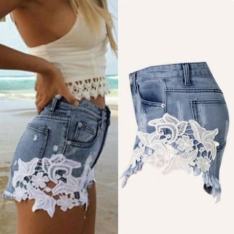 Women Tassel Hole Shorts Jeans Denim Short Pants Hollowed Out Shorts Jeans Denim