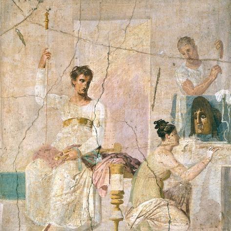 Photographic Print Fresco Depicting Theater Scene From Basilica Of Herculaneum 16x16in In 2021 Roman Art Ancient Paintings Herculaneum