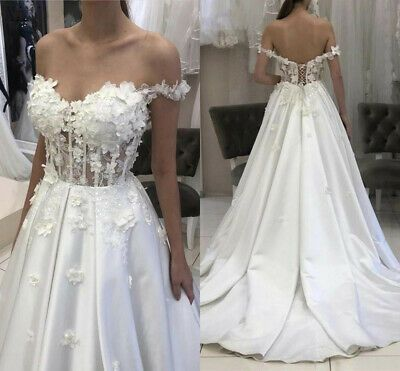 Princess Wedding Dresses Off Shoulder Lace Up Corset 3d Flower Bridal Gowns Plus Ebay In 2020 Off Shoulder Wedding Dress Beach Bridal Gown Bridal Gowns Mermaid