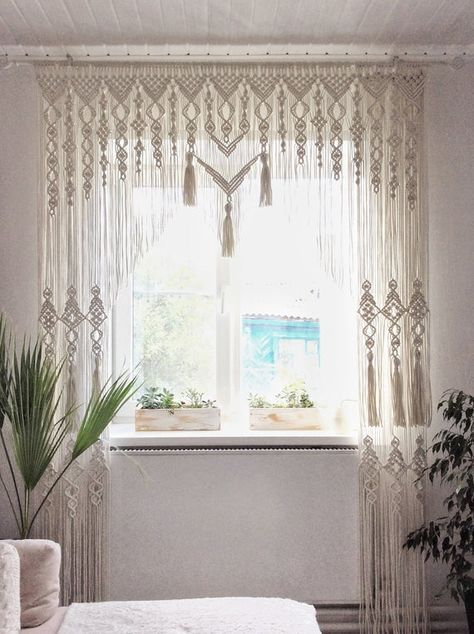 Macrame Curtains Boho Curtains Provence Curtains Large Macrame Etsy Boho Curtains Macrame Curtain Curtains Living Room