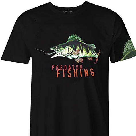 Fladen Fishing  Perche verte  T-shirts 100 % coton  Design dynamique passionnant  Idéal pour ceux qui aiment les poissons prédateurs Noir  S